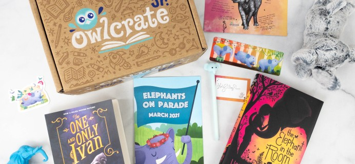 OwlCrate Jr. March 2021 Box Review & Coupon – ELEPHANTS ON PARADE!