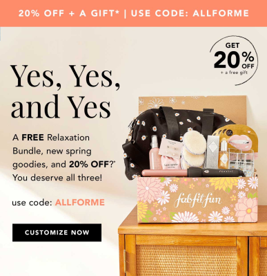 FabFitFun Coupon: Get 20% Off First Box + FREE Relaxation Bundle!