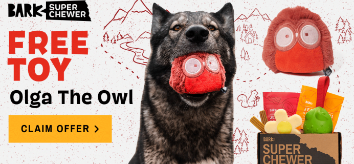 Super Chewer Deal: FREE Olga the Owl Toy With First Box of Tough Toys for Dogs!