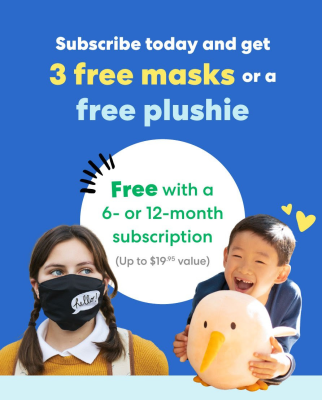KiwiCo Flash Sale: FREE Plushie or Masks With Subscription!