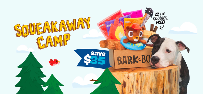 BarkBox Deal: Double Your First Box for FREE + Squeakaway Camp Box!