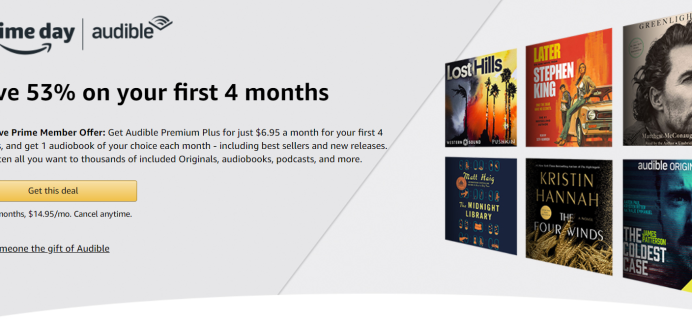 Audible Premium Plus Prime Day Deal: Save 53% On Your First Four Months!
