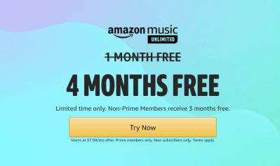Amazon Music Unlimited Prime Day Deal: 4 Months FREE!