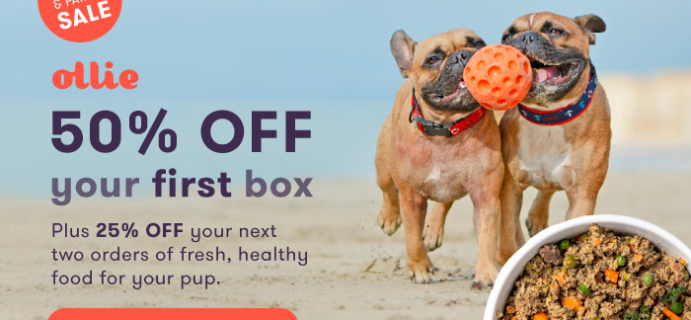 Ollie Dog Food Friends and Family Sale: 50% Off First Box + 25% Off Second and Third Boxes!