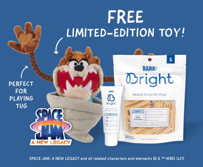 Bark Bright: FREE Space Jam Taz Toy With First Dog Dental Kit!