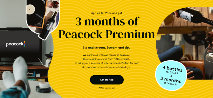 Winc x Peacock: 4 bottles for $29.95 + 3 Months FREE Peacock Premium!