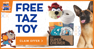 Super Chewer Deal: FREE Jam Tearable Taz Toy With First Box of Tough Toys for Dogs!