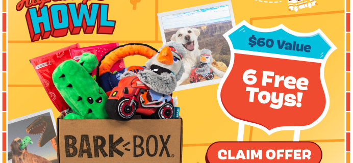 BarkBox Deal: FREE Toy in EVERY Box + Road Trip Box!