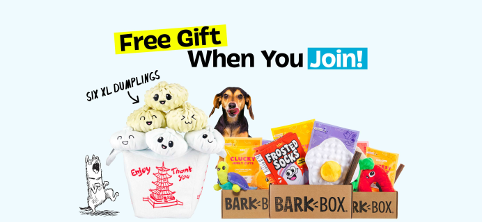 BarkBox Deal: FREE 6 XL Andi's Dumplings Plush Toys With First Box!