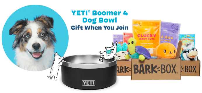 BarkBox & Super Chewer Deal: FREE Yeti Dog Bowl With First Box of Toys and Treats for Dogs!