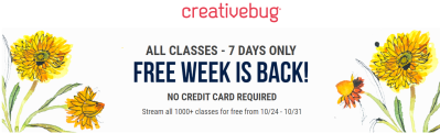 Creativebug Coupon: Get 7 Days FREE Unlimited Access To All Classes!